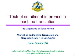 Textual entailment inference in machine translation