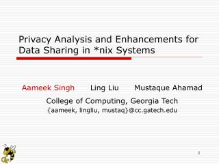 Privacy Analysis and Enhancements for Data Sharing in nix Systems