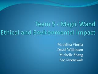Team 5 - Magic Wand Ethical and Environmental Impact