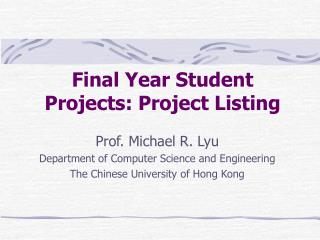 Final Year Student Projects: Project Listing