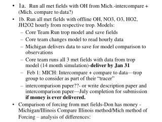 1a.   Run all met fields with OH from Mich.-intercompare + (Mich. compare to data?)