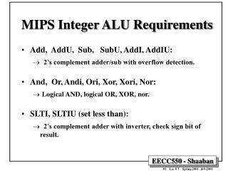 MIPS Integer ALU Requirements