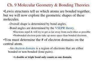 Ch. 9 Molecular Geometry & Bonding Theories
