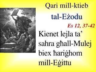 Qari mill-ktieb  tal-Eżodu Es 12, 37-42 Kienet lejla  ta' sahra għall-Mulej biex ħariġhom