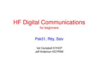 HF Digital Communications for beginners