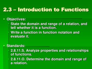 2.3 � Introduction to Functions