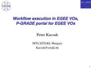 Workflow execution in EGEE VOs,  P-GRADE portal for EGEE VOs
