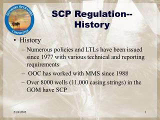 SCP Regulation--History