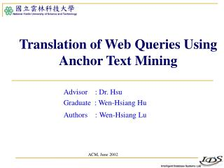 Translation of Web Queries Using Anchor Text Mining