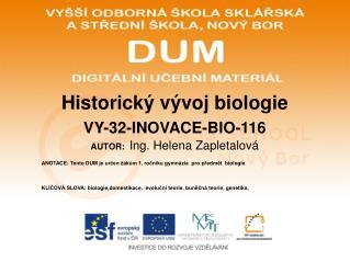 Historick� v�voj biologie