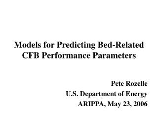 Models for Predicting Bed-Related CFB Performance Parameters