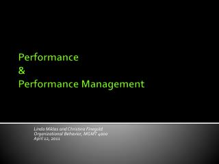Performance  &  Performance Management