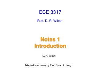 Notes 1            Introduction