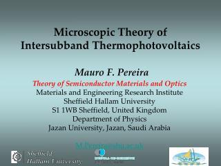 Microscopic Theory of Intersubband Thermophotovoltaics  Mauro F. Pereira