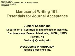 Manuscript Writing 101: Essentials for Journal Acceptance