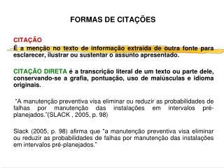 FORMAS DE CITAÇÕES