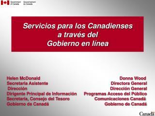 Servicios para los Canadienses a través del   Gobierno en línea