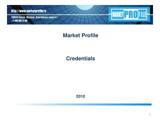 Market Profile  Credentials 20 10