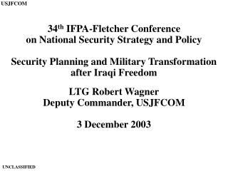 34th IFPA-Fletcher Conference on National Security Strategy and Policy  Security Planning and Military Transformation af