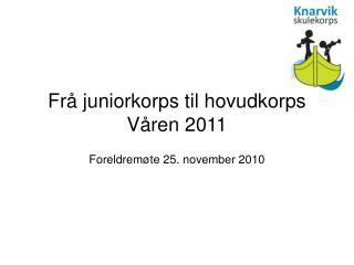 Frå juniorkorps til hovudkorps Våren 2011