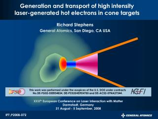 Generation and transport of high intensity laser-generated hot electrons in cone targets