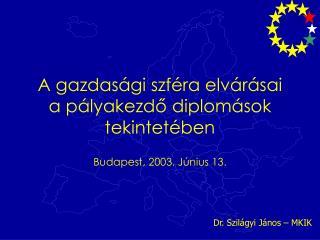 A gazdasági szféra elvárásai a pályakezdő diplomások tekintetében Budapest, 2003. Június 13.