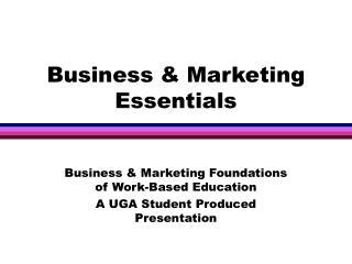 Business & Marketing Essentials