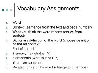 Vocabulary Assignments