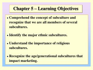 Chapter 5 – Learning Objectives