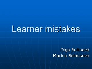 Learner mistakes