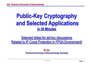 Public-Key Cryptography  and Selected Applications in 30 Minutes
