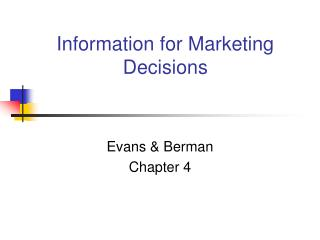 Information for Marketing Decisions