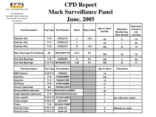 CPD Report Mack Surveillance Panel June, 2005