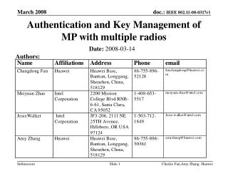 Authentication and Key Management of MP with multiple radios