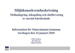 Genomgång av den preliminära  miljökonsekvensbeskrivningen ( MKB:n )