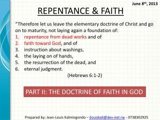 REPENTANCE & FAITH