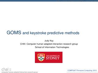 GOMS  and keystroke predictive methods
