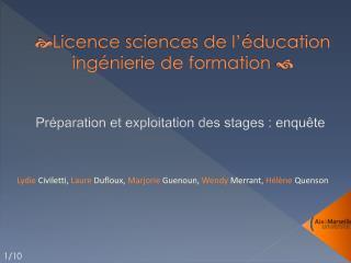  Licence  sciences de l'éducation ingénierie de formation  