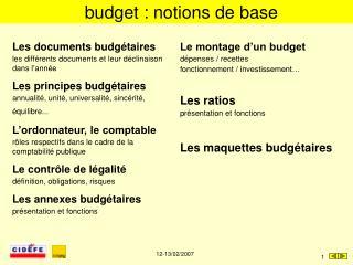 Budget : notions de base