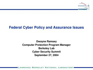 Federal Cyber Policy and Assurance Issues