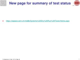New page for summary of test status