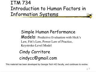 ITM 734 Introduction to Human Factors in Information Systems