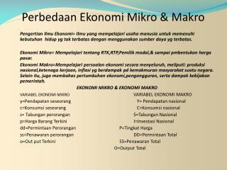 Perbedaan Ekonomi Mikro & Makro