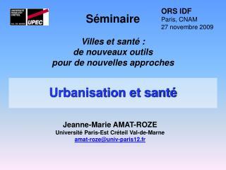Urbanisation et sant