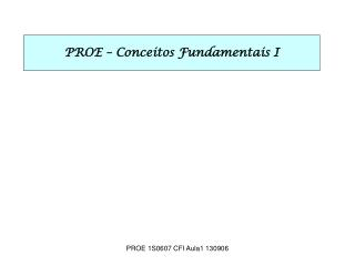 PROE – Conceitos Fundamentais I
