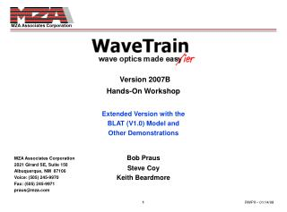 Version 2007B Hands-On Workshop Extended Version with the BLAT (V1.0) Model and