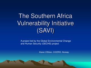 The Southern Africa Vulnerability Initiative  (SAVI)