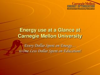 Energy use at a Glance at Carnegie Mellon University