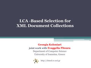 LCA -Based Selection for   XML Document Collections