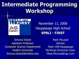 Intermediate Programming  Workshop